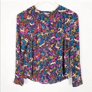 Anthropologie Conversations Printed Floral Blouse